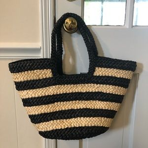 Talbots Black Striped Straw Tote Bag